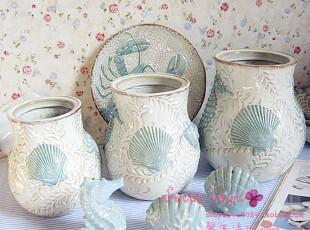 外贸手彩绘陶瓷地中海储物罐海洋装饰花瓶调味缸浮雕海底世界套罐,调味罐,