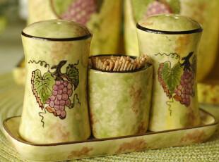 新品欧式田园陶瓷调味瓶套装调料瓶牙签筒三件套带托盘@紫葡萄,调味罐,
