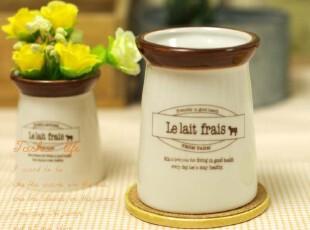 塔莎家 zakka 调味罐 法式奶瓶 印字陶瓷小罐 花器 四款可选 L,调味罐,