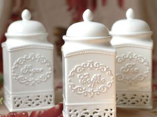 北欧风情厨房用品白色雕花镂空陶瓷调味罐 密封罐 储物罐三件套装,调味罐,