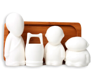 INFUN 三个和尚陶瓷调味瓶 牙签盒 创意厨房用具 教师节礼物实用,调味罐,