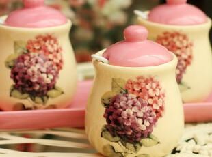 秒杀【5折】正品高温陶瓷调味罐套装 带勺调味调料瓶 唯美如油画,调味罐,