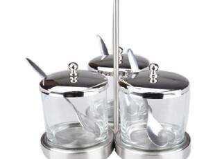 莱珍斯 手提式不锈钢玻璃调味罐三头组合,调味罐,
