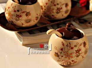 双11 大促销欧式陶瓷带托盘厨房调味罐田园宜家四件套装带勺,调味罐,