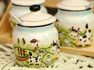 【7.5折】田园手绘陶瓷调味瓶套装 调味罐调料罐【静美大草原】,调味罐,