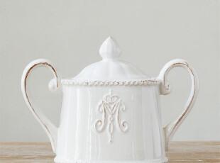 北陆工匠/美克美家法式乡村浮雕陶瓷餐具/贵族徽章调味罐糖缸,调味罐,