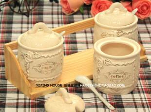 【3星酒店已采购!】欧式厨房陶瓷调味瓶陶瓷厨房调味罐三件套装,调味罐,