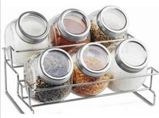 玻璃密封 食盐罐 调味瓶 调味盒 调料盒 调味罐 7件套 置物架,调味罐,