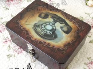 家居储物收纳盒子储物箱子 中大号 复古油画电话带锁铁皮箱 铁盒,铁盒,