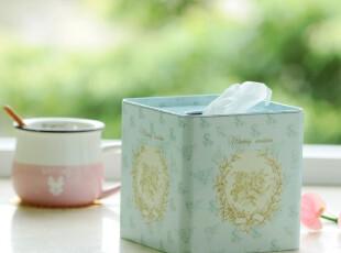 时光记、zakka杂货 气质蓝色纸巾盒 方形纸巾盒卷纸盒 马口铁盒,铁盒,