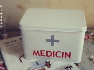 半岛铁盒。外贸原单家居用中号十字铁皮收纳急救箱/药箱,铁盒,