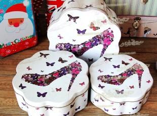 新款 三件套 花型铁盒 收纳罐 糖果盒 饼干盒 摩登高跟,铁盒,
