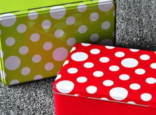 Wikibox白色圆点铁盒收纳盒饼干盒首饰盒礼品盒草绿色,铁盒,