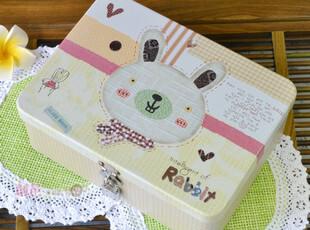 zakka可爱卡通 带锁铁盒 密码锁盒 化妆品首饰收纳盒 礼品包装盒,铁盒,