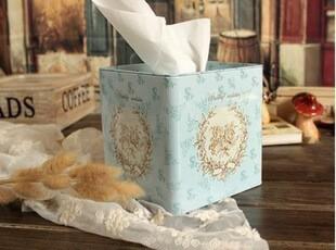 zakka杂货 气质蓝色纸巾盒 方形纸巾盒 抽纸盒 马口铁盒 中号,铁盒,