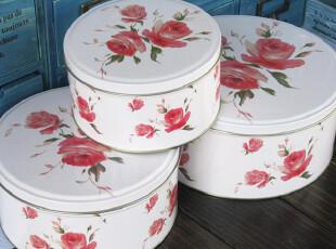 江浙沪满58包邮 素雅蔷薇三件套铁盒 铁皮收纳盒 收纳罐 铁罐,铁盒,