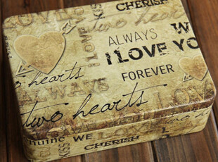 zakka杂货 love you半岛铁盒 做旧龟裂马口铁盒收纳 内置隔层,铁盒,