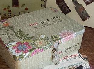 复古花大号带锁铁皮盒收纳盒长方带锁铁盒带锁储物盒礼品盒,铁盒,