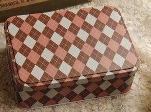 格子连盖明信片铁盒 连盖铁盒 文具盒 收纳铁盒 储藏盒马口铁盒子,铁盒,