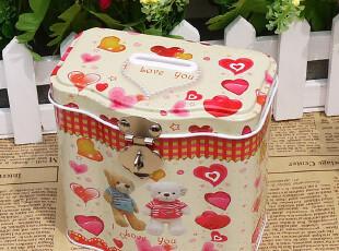 冲四钻特价带锁铁皮盒子锁盒储物盒铁盒 储蓄罐收纳盒波浪存钱罐,铁盒,