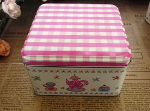 田园粉格子 日用家居收纳盒铁盒套三正方盒 铁皮盒 宜家,铁盒,