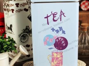 英伦风 金属扣胶盖密封罐盒 茶叶咖啡饼干半岛收纳铁盒 2色,铁盒,