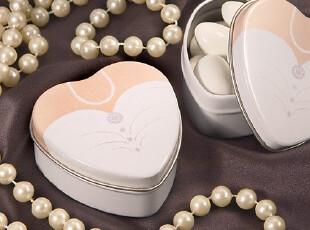 欧美婚庆用品婚礼回礼结婚礼物 心型新娘婚纱铁盒喜糖盒首饰盒,铁盒,