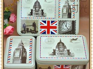zakka杂货 迷情伦敦 复古铁盒三件套 英伦风收纳盒,铁盒,