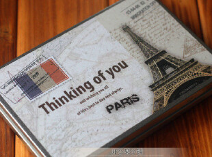 复古欧洲风情铁盒明信片+信封套装 卡片 贺卡 8款外盒随机 300g,铁盒,