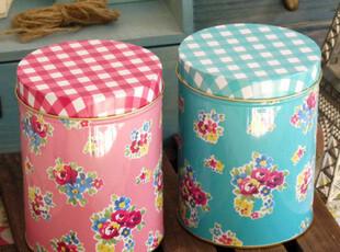 英国原单 甜美碎花 双色圆罐铁盒 密封罐咖啡罐茶叶罐收纳罐,铁盒,
