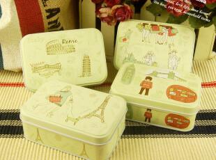 欧美风 zakka长方收纳盒小铁盒 哑光效果 4款选,铁盒,