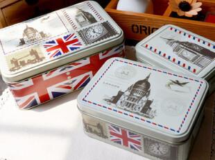 复古邮票收纳铁盒 糖果盒 英伦风铁皮盒 三件套包邮,铁盒,