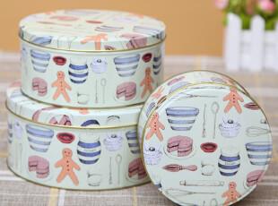 蛋糕餐具饼干盒 铁盒 圆盒子 收纳罐 礼品盒 储物盒 三件套,铁盒,