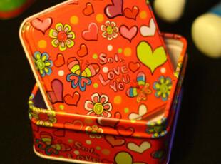 半岛铁盒 收纳整理盒 喜糖盒 治愈系铁盒 正方,铁盒,