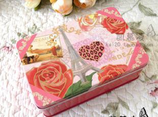 居家储物收纳盒子 个性复古怀旧埃菲尔铁塔玫瑰图案铁盒 小杂物盒,铁盒,