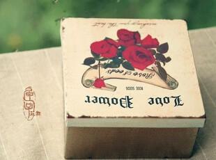 【匣子玩物】欧式复古铁皮收纳盒 铁盒子玫瑰花案 12*6.3CM,铁盒,