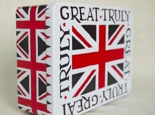 UK英国|英格兰米字旗-一圈字 带钥匙带锁铁盒 桌面收纳大铁盒,铁盒,