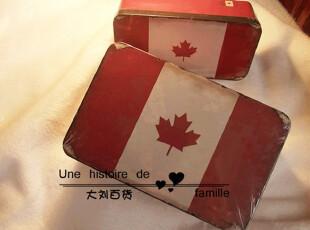 【加拿大红色树叶】zakka 桌面收纳盒 大铁皮盒 杂货日记本收纳盒,铁盒,