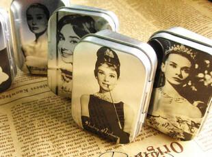 经典收藏|奥黛丽.赫本|迷你小铁盒|银色收纳盒|特价,铁盒,