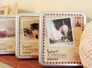 日韩国文具 可爱 创意 铁盒 明信片+贴纸+木夹+麻绳 套装 C0108,铁盒,