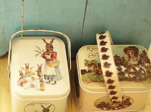 手提式欧式复古马口铁皮盒饰品收纳盒食品盒储物盒子装饰盒彼得兔,铁盒,