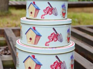 欧式乡村风套三铁盒食物收纳盒桌面收纳盒礼品盒外贸铁皮盒盒子,铁盒,