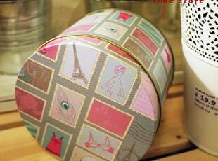 欧洲 巴黎游记 复古插画邮票 圆形铁盒 收纳盒 糖果盒 收纳罐,铁盒,