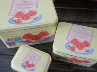 黄底蛋糕盒子 套三收纳盒铁盒 龟裂艺术做工表面,铁盒,