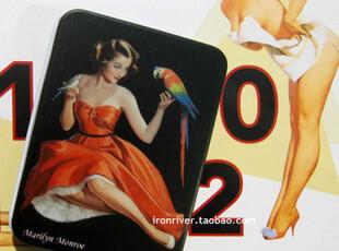 Gil Elvgren 60年代美女招贴画系列铁盒-红裙和鹦鹉,铁盒,