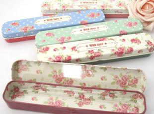 UMI韩国文具小清新小碎花文具盒 笔盒 铅笔盒 小铁盒 收纳盒,铁盒,