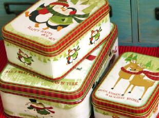 圣诞节情侣礼品盒 铁盒三件套 收纳盒巧克力盒子糖果盒饼干盒,铁盒,