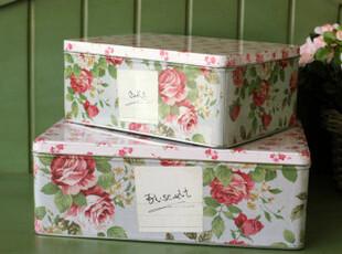 外贸大尺寸复古碎花方套铁盒 铁皮盒子收纳盒 饼干糖果铁盒,铁盒,