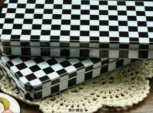 简约黑白 格子长方铁盒|收纳盒|翻盖盒|铅笔盒|incetive日单出品,铁盒,