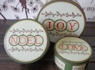 新款JOY NOEL LOVE &圣诞树枝套三收纳盒外贸铁盒 糖果盒,铁盒,